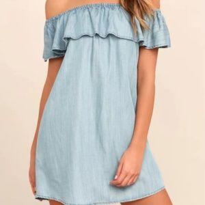 Lulu's Chambray Off The Shoulder Mini Dress